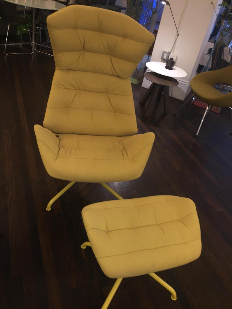 European Yellow and Gray Thonet 808 Recliner Lounge Chair For Sale