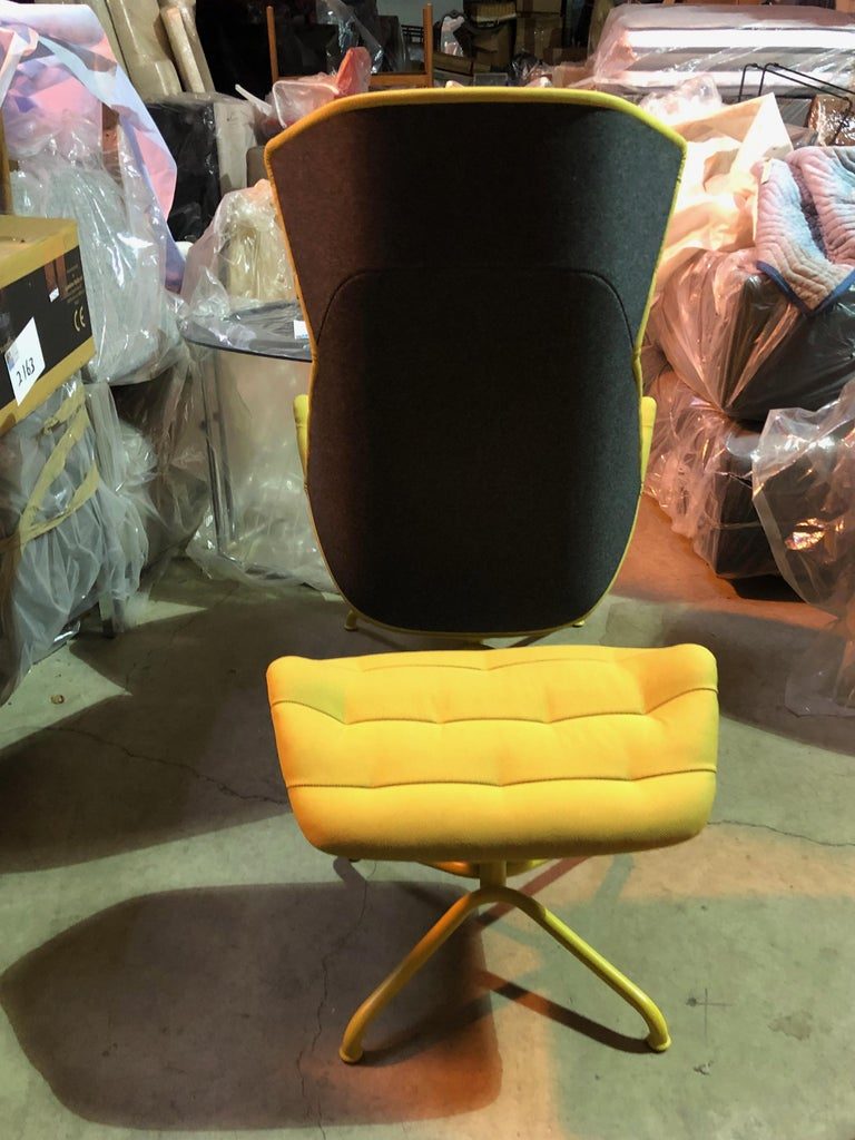 Contemporary Yellow and Gray Thonet 808 Recliner Lounge Chair