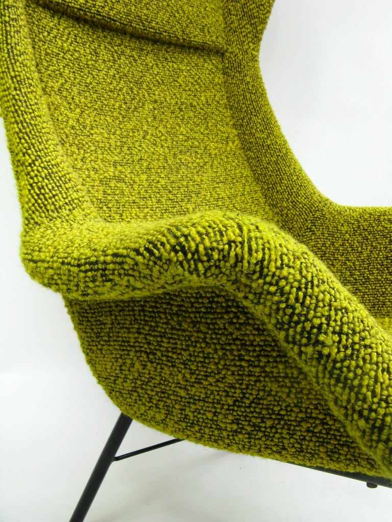 Mid-Century Modern Yellow and Green Wingback Armchair by Miroslav Navratil for Ton, 1960s For Sale