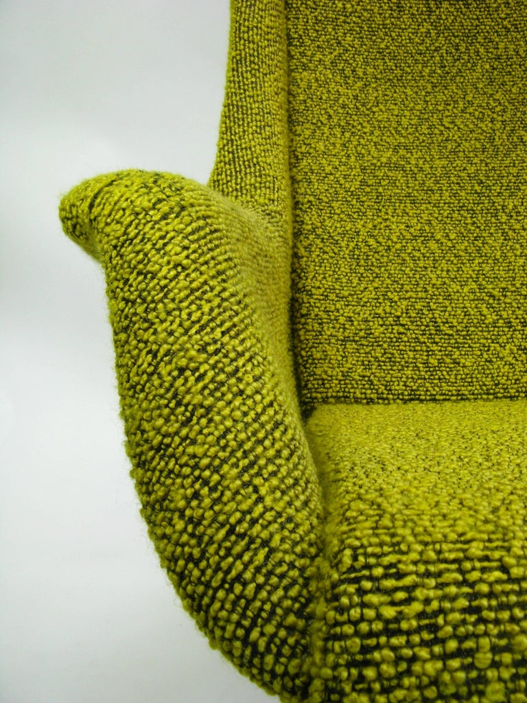 Czech Yellow and Green Wingback Armchair by Miroslav Navratil for Ton, 1960s For Sale