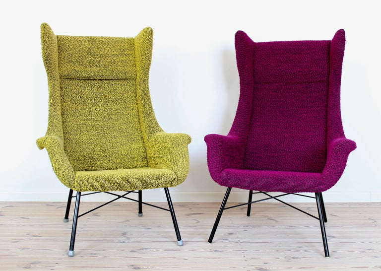 Yellow and Green Wingback Armchair by Miroslav Navratil for Ton, 1960s For Sale 1