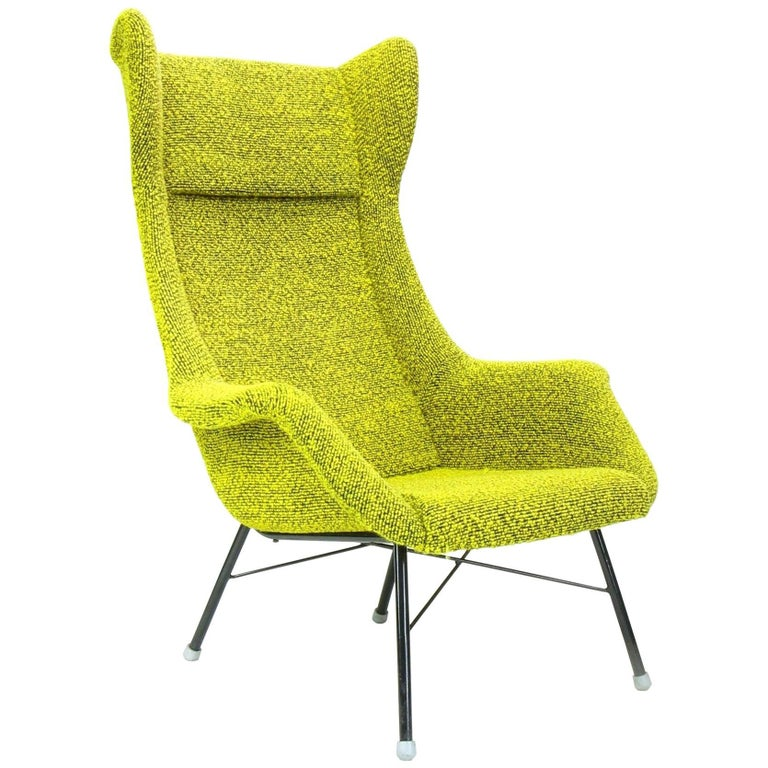 Yellow and Green Wingback Armchair by Miroslav Navratil for Ton, 1960s For Sale