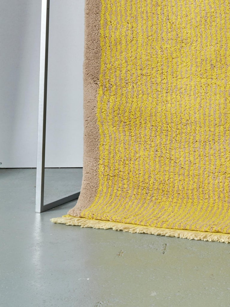 Modern Yellow and Grey Stereo Rug in Moroccan Hand Knotted Berber Wool by Julie Richoz For Sale