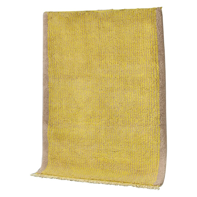 Yellow and Grey Stereo Rug in Moroccan Hand Knotted Berber Wool by Julie Richoz For Sale