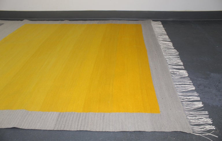 Bespoke Yellow and Grey Wool Handwoven Rug or Kilim, Natural Dye For Sale 3