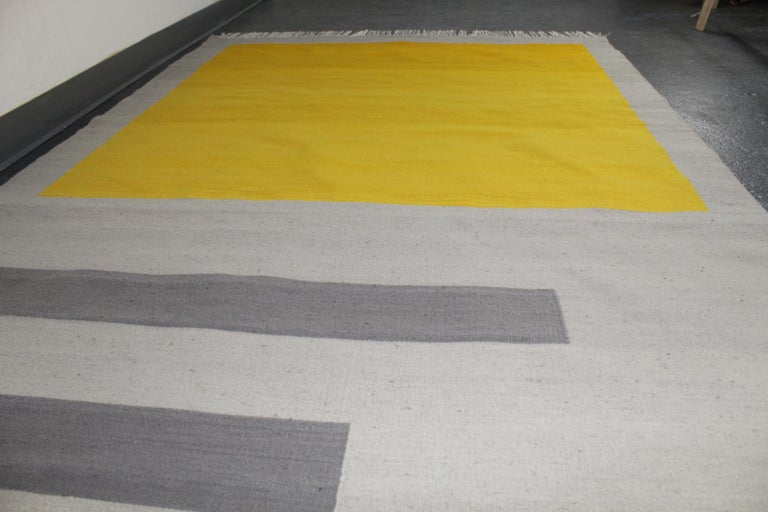 Bespoke Yellow and Grey Wool Handwoven Rug or Kilim, Natural Dye For Sale 4