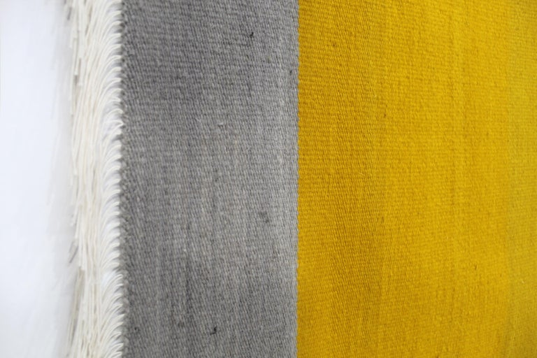American Bespoke Yellow and Grey Wool Handwoven Rug or Kilim, Natural Dye For Sale