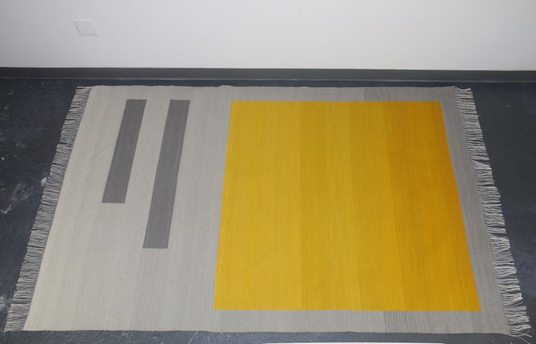 Bespoke Yellow and Grey Wool Handwoven Rug or Kilim, Natural Dye In New Condition For Sale In Brooklyn, NY