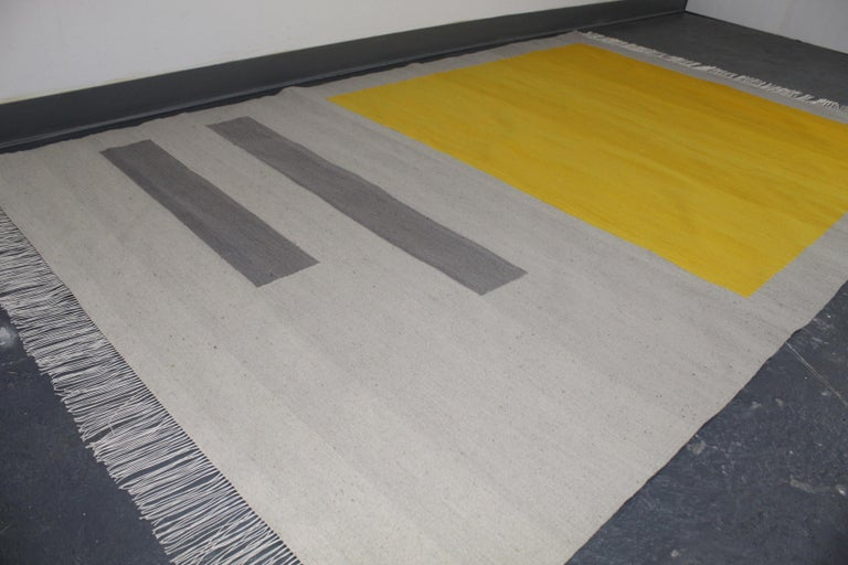 Contemporary Bespoke Yellow and Grey Wool Handwoven Rug or Kilim, Natural Dye For Sale
