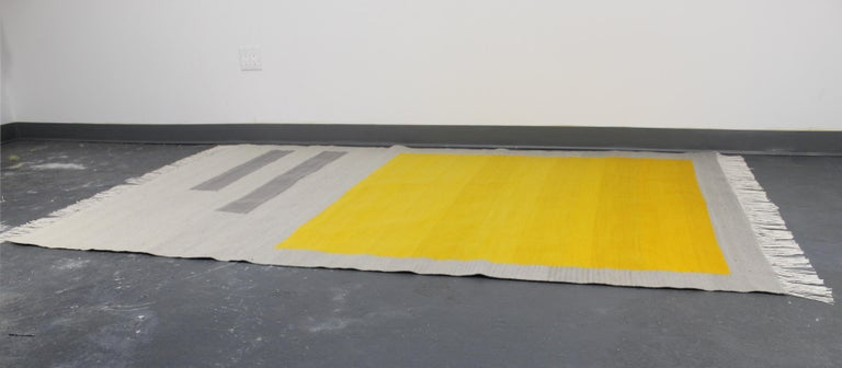 Bespoke Yellow and Grey Wool Handwoven Rug or Kilim, Natural Dye For Sale 1