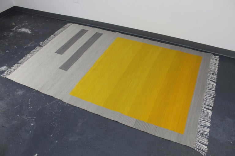 Bespoke Yellow and Grey Wool Handwoven Rug or Kilim, Natural Dye For Sale 2