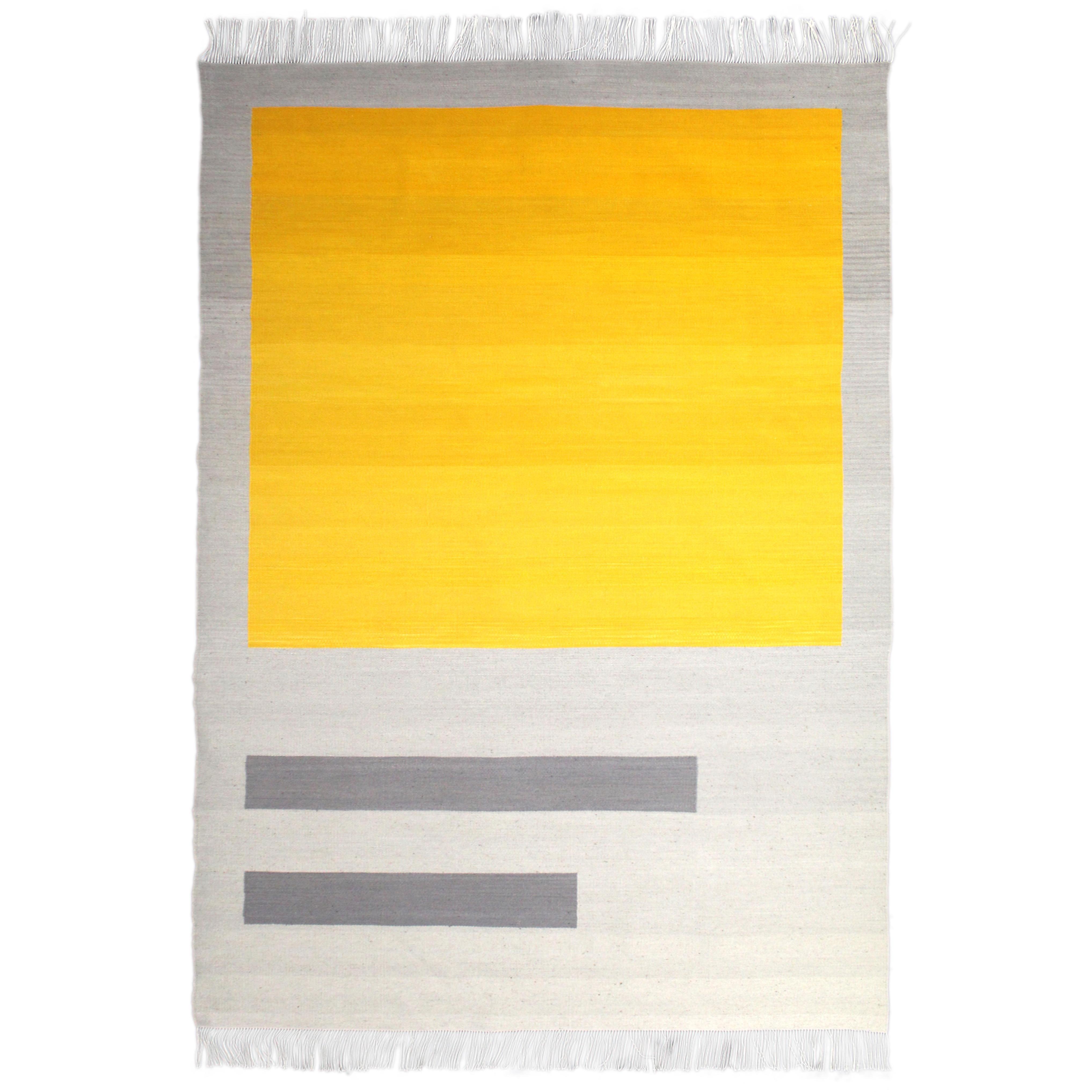 Bespoke Yellow and Grey Wool Handwoven Rug or Kilim, Natural Dye