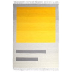 Bespoke Yellow and Grey Wool Handwoven Rug or Kilim, Natural Dye