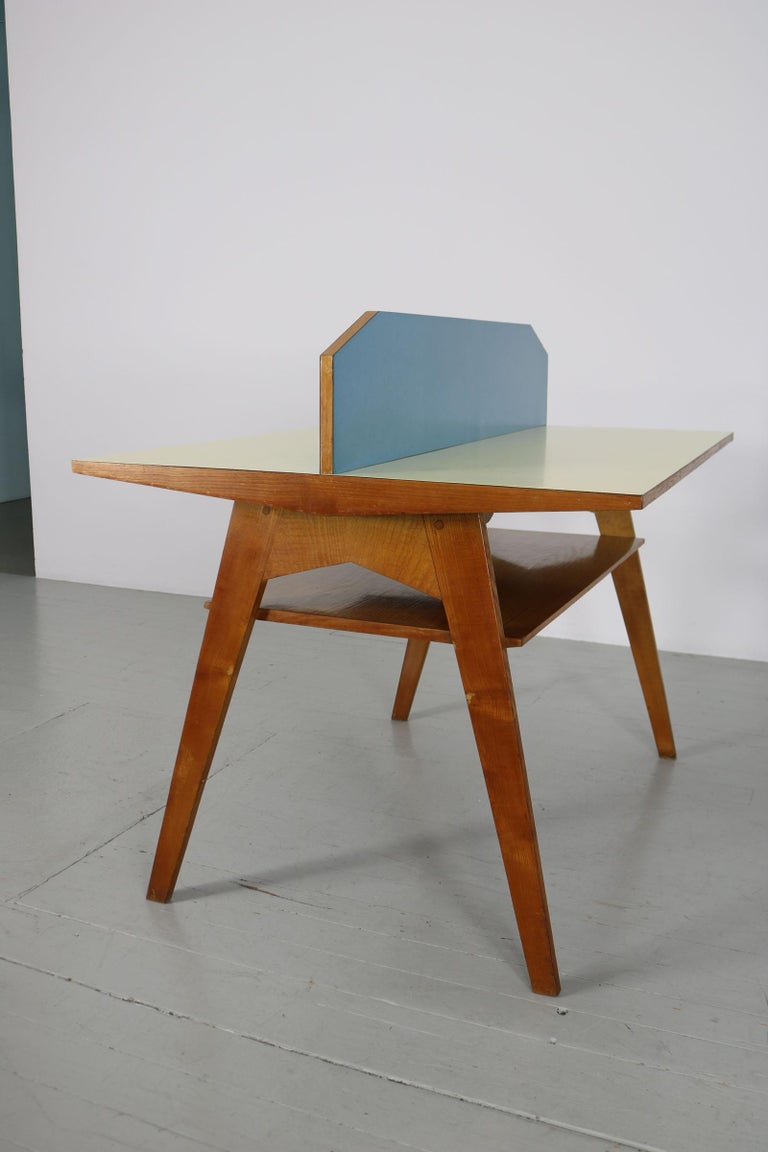 Yellow and Light Blue Italian Double Desk, 1950s For Sale 5