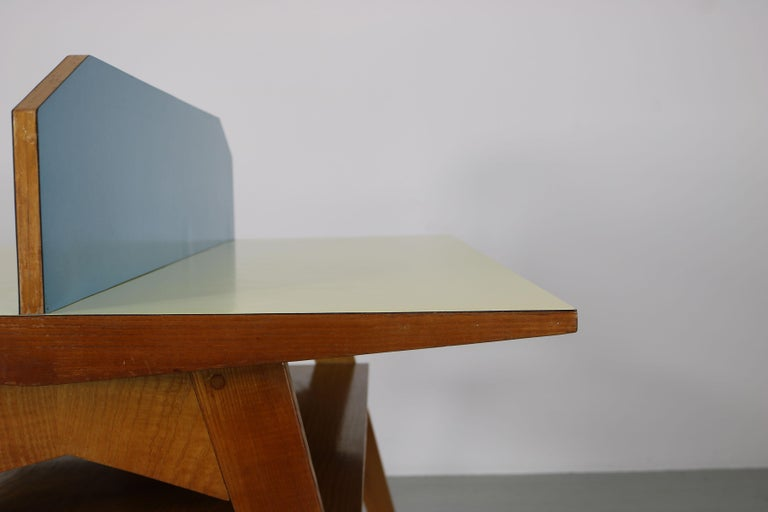 Yellow and Light Blue Italian Double Desk, 1950s For Sale 7