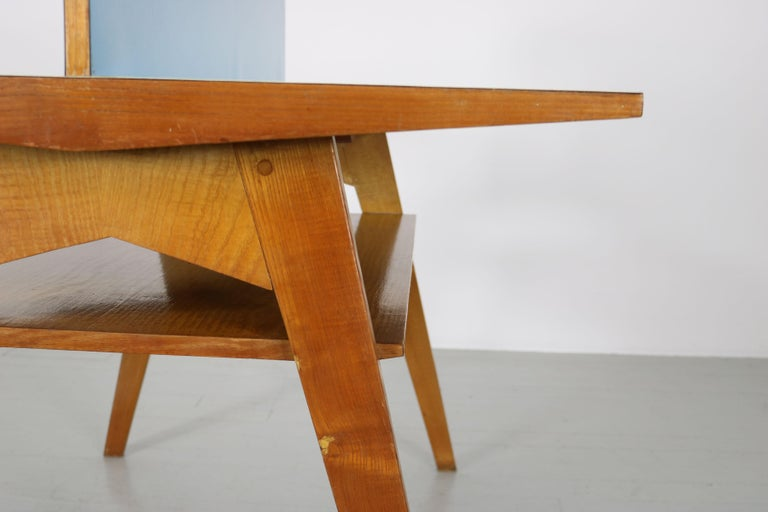 Yellow and Light Blue Italian Double Desk, 1950s For Sale 8