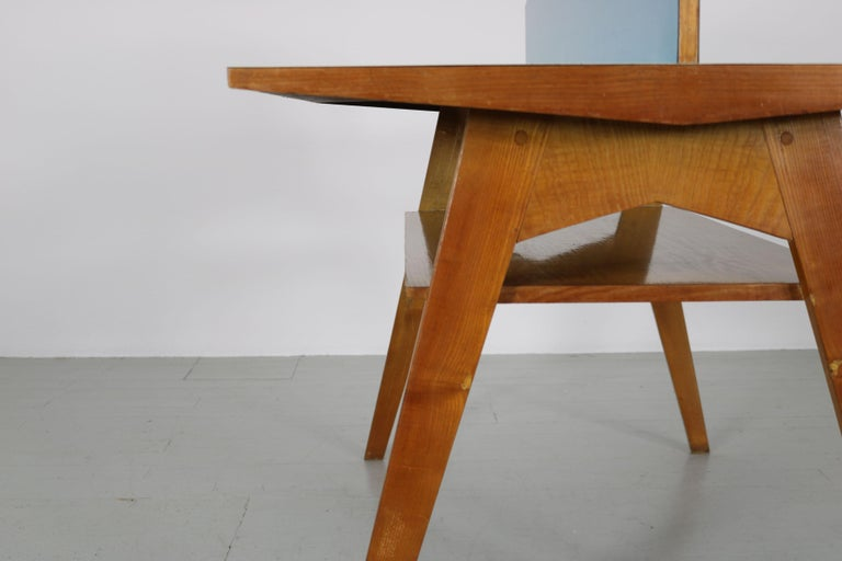 Yellow and Light Blue Italian Double Desk, 1950s For Sale 11