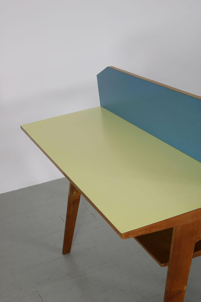 Yellow and Light Blue Italian Double Desk, 1950s For Sale 12