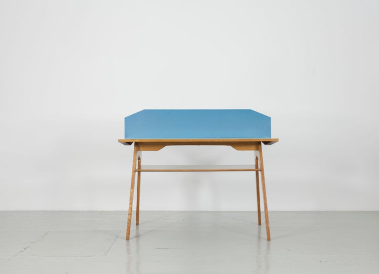 Mid-Century Modern Yellow and Light Blue Italian Double Desk, 1950s For Sale