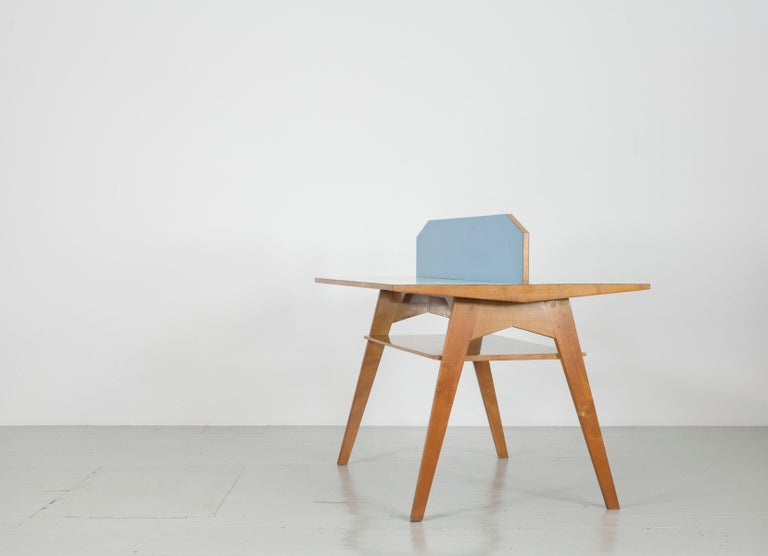 Mid-20th Century Yellow and Light Blue Italian Double Desk, 1950s For Sale