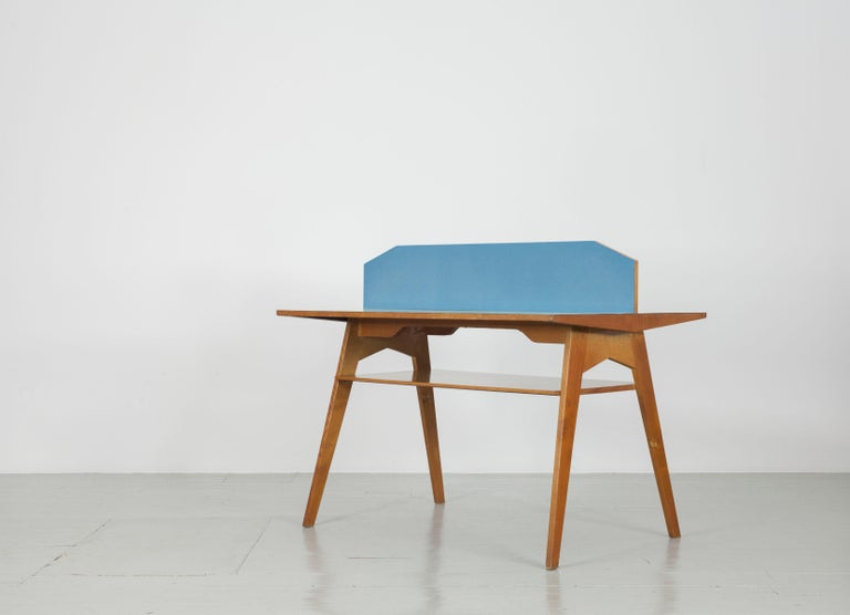 Formica Yellow and Light Blue Italian Double Desk, 1950s For Sale