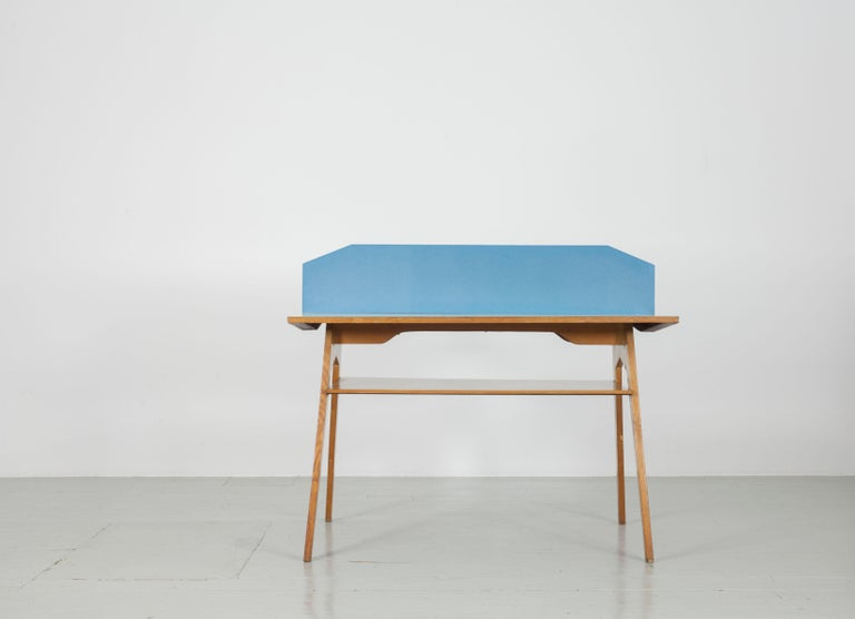 Yellow and Light Blue Italian Double Desk, 1950s For Sale 1