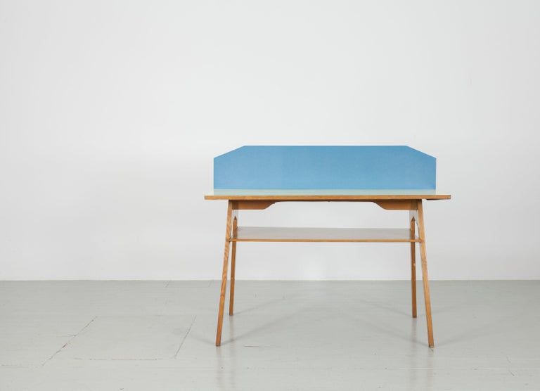 Yellow and Light Blue Italian Double Desk, 1950s For Sale 2