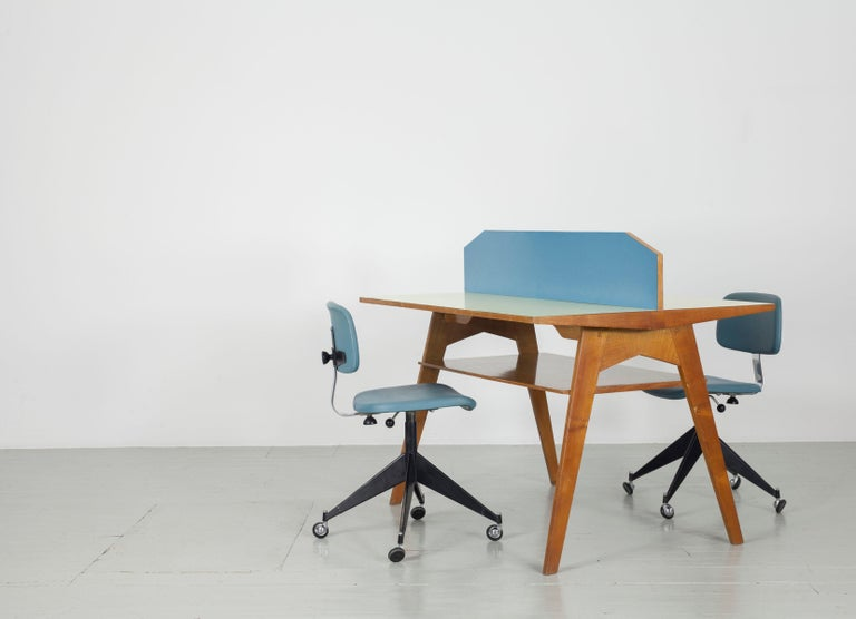 Yellow and Light Blue Italian Double Desk, 1950s For Sale 3