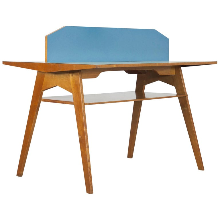 Yellow and Light Blue Italian Double Desk, 1950s For Sale