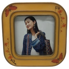 Yellow and Orange Enameled Square Decorative Picture Frame