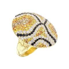 Yellow and Orange Sapphire, White Diamond 18 Karat Yellow Gold Statement Ring