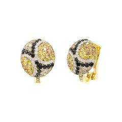 Yellow and Orange Sapphire, White Diamond Yellow Gold 18 Karat Earrings
