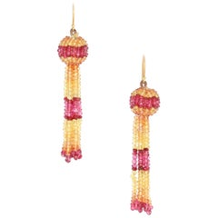 Yellow and Orange Sapphire with Spinel Faceted Beads Tassel Earring, Yellow Gold