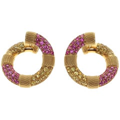 Yellow and Pink Sapphire 18 Karat Yellow Gold Lifebuoy Earring