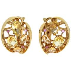 Yellow and Pink Sapphires 18 Karat Yellow Gold Splash Earrings