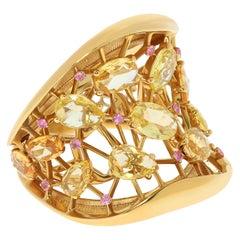 Yellow and Pink Sapphires 18 Karat Yellow Gold Splash Ring