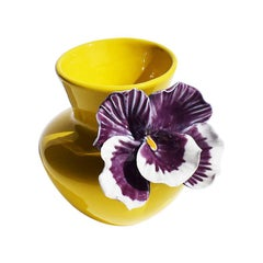 Yellow and Purple Abstract Ceramic Vase with Affixed Floral Orchid
