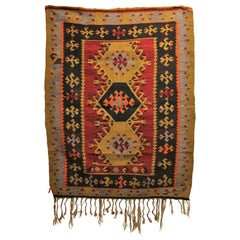 Yellow and Red Tribal Print Wool Turkish Kilim