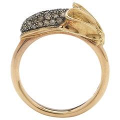 Yellow and Rose Gold Diamond Banana Stackable Ring