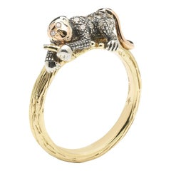 Yellow and Rose Gold Diamond Monkey Stackable Ring