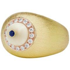 AnaKatarina Yellow and Rose Gold, Mammoth Ivory, Diamonds and Sapphire Ring