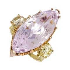 Yellow and Rose Gold Morganite and Diamond Ring