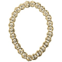 Yellow and White 18 Karat Gold Intertwined Double Link Necklace Signed O.W.C.