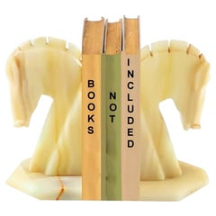 Yellow and White Calcite Horse Head Bookends