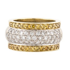Yellow and White Diamond 18 Karat Band Ring