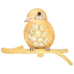 Yellow and White Diamond Bird Pin Brooch Set in 18 Karat Yellow and Rose Gold