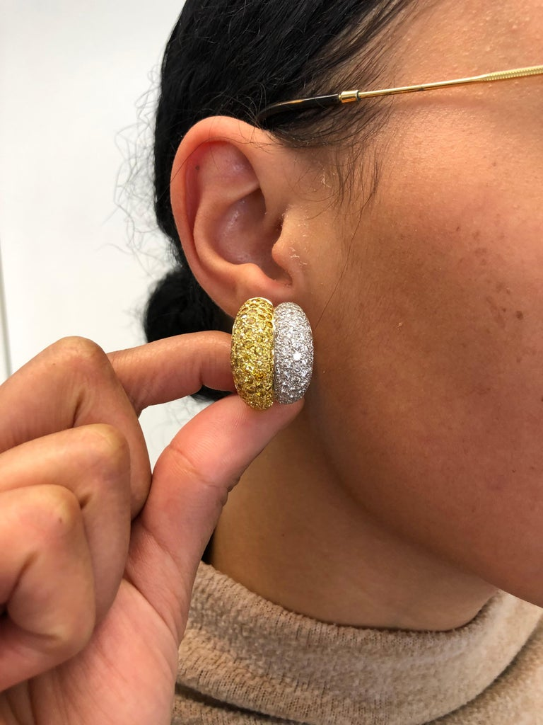 Yellow and White Diamond Bombé Earclips in 18 Karat White and Yellow Gold For Sale 4