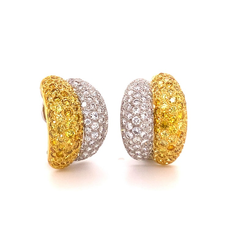 Contemporary Yellow and White Diamond Bombé Earclips in 18 Karat White and Yellow Gold For Sale
