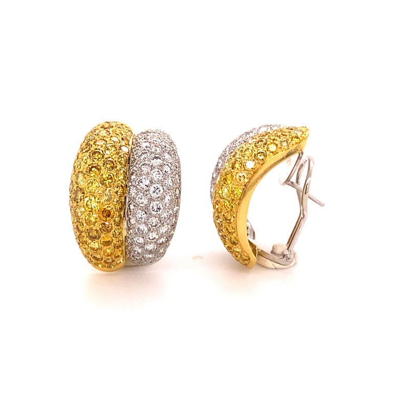 Brilliant Cut Yellow and White Diamond Bombé Earclips in 18 Karat White and Yellow Gold For Sale
