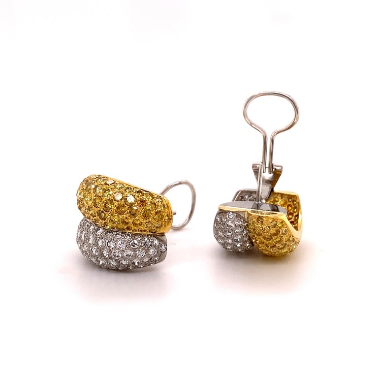 Women's or Men's Yellow and White Diamond Bombé Earclips in 18 Karat White and Yellow Gold For Sale